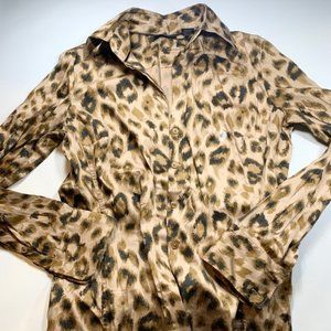 New York & Company Button Down Leopard Print Shirt